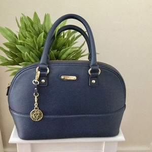 Anne Klein Navy Blue Satchel Handbag